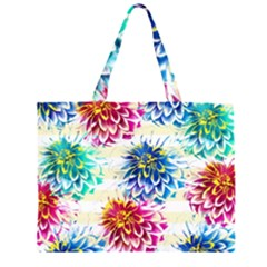 Colorful Dahlias Zipper Large Tote Bag