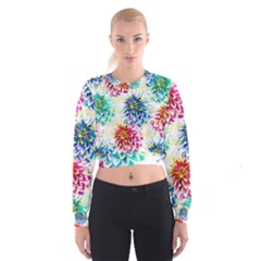 Colorful Dahlias Women s Cropped Sweatshirt