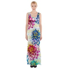 Colorful Dahlias Maxi Thigh Split Dress