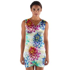 Colorful Dahlias Wrap Front Bodycon Dress
