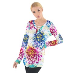 Colorful Dahlias Women s Tie Up Tee