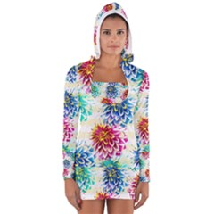 Colorful Dahlias Women s Long Sleeve Hooded T-shirt