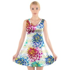 Colorful Dahlias V-Neck Sleeveless Skater Dress