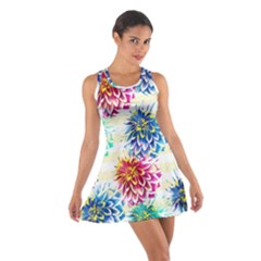 Colorful Dahlias Cotton Racerback Dress