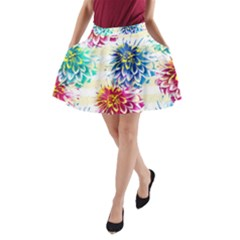 Colorful Dahlias A-Line Pocket Skirt