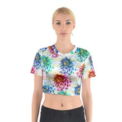 Colorful Dahlias Cotton Crop Top by DanaeStudio