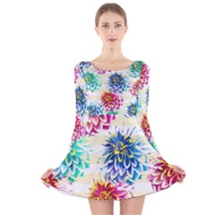 Colorful Dahlias Long Sleeve Velvet Skater Dress by DanaeStudio