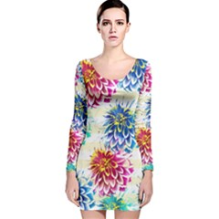 Colorful Dahlias Long Sleeve Velvet Bodycon Dress by DanaeStudio