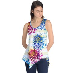 Colorful Dahlias Sleeveless Tunic