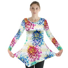 Colorful Dahlias Long Sleeve Tunic