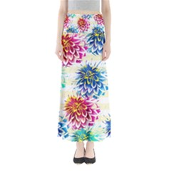 Colorful Dahlias Maxi Skirts