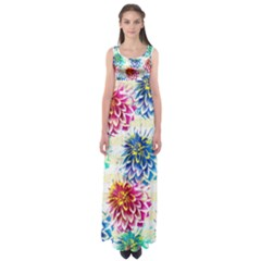 Colorful Dahlias Empire Waist Maxi Dress