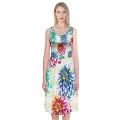 Colorful Dahlias Midi Sleeveless Dress