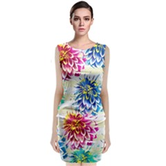 Colorful Dahlias Classic Sleeveless Midi Dress