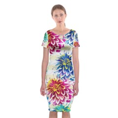 Colorful Dahlias Classic Short Sleeve Midi Dress