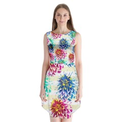 Colorful Dahlias Sleeveless Chiffon Dress