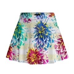Colorful Dahlias Mini Flare Skirt