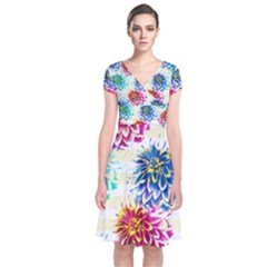 Colorful Dahlias Short Sleeve Front Wrap Dress