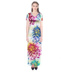 Colorful Dahlias Short Sleeve Maxi Dress