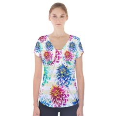 Colorful Dahlias Short Sleeve Front Detail Top