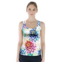 Colorful Dahlias Racer Back Sports Top