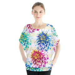 Colorful Dahlias Blouse