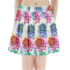 Colorful Dahlias Pleated Mini Skirt