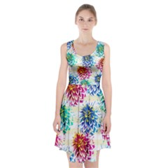 Colorful Dahlias Racerback Midi Dress