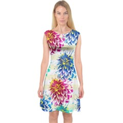 Colorful Dahlias Capsleeve Midi Dress