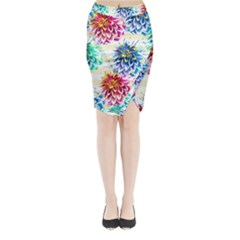 Colorful Dahlias Midi Wrap Pencil Skirt by DanaeStudio