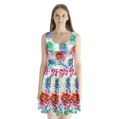 Colorful Dahlias Split Back Mini Dress  by DanaeStudio