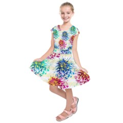 Colorful Dahlias Kids  Short Sleeve Dress by DanaeStudio