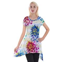 Colorful Dahlias Short Sleeve Side Drop Tunic