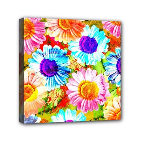 Colorful Daisy Garden Mini Canvas 6  X 6  by DanaeStudio