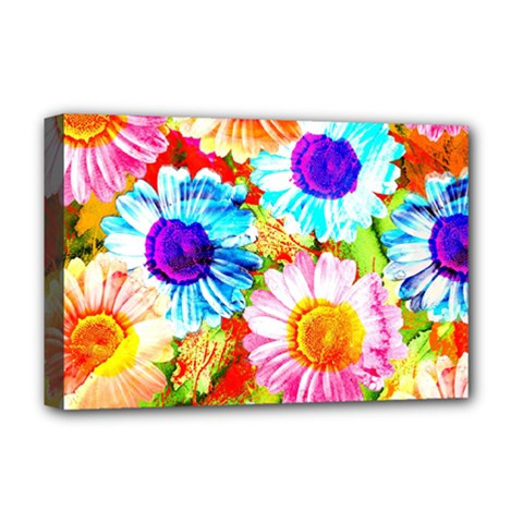 Colorful Daisy Garden Deluxe Canvas 18  X 12   by DanaeStudio