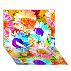 Colorful Daisy Garden I Love You 3d Greeting Card (7x5) by DanaeStudio