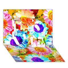 Colorful Daisy Garden Love 3d Greeting Card (7x5) by DanaeStudio
