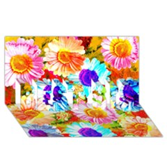 Colorful Daisy Garden Best Sis 3d Greeting Card (8x4) by DanaeStudio
