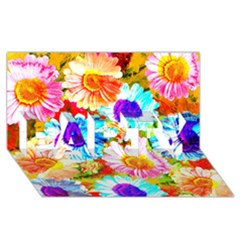 Colorful Daisy Garden Party 3d Greeting Card (8x4) by DanaeStudio