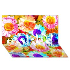 Colorful Daisy Garden Sorry 3d Greeting Card (8x4) by DanaeStudio