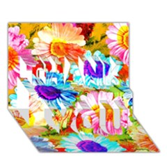 Colorful Daisy Garden Thank You 3d Greeting Card (7x5) by DanaeStudio