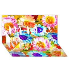 Colorful Daisy Garden Merry Xmas 3d Greeting Card (8x4) by DanaeStudio