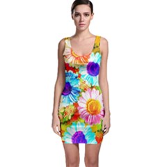 Colorful Daisy Garden Sleeveless Bodycon Dress by DanaeStudio