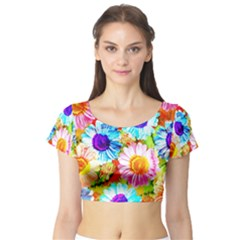 Colorful Daisy Garden Short Sleeve Crop Top (tight Fit) by DanaeStudio