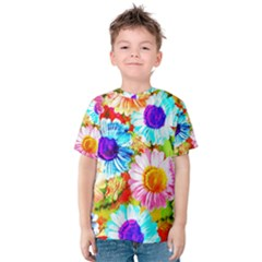 Colorful Daisy Garden Kids  Cotton Tee by DanaeStudio