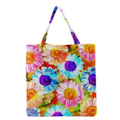 Colorful Daisy Garden Grocery Tote Bag by DanaeStudio