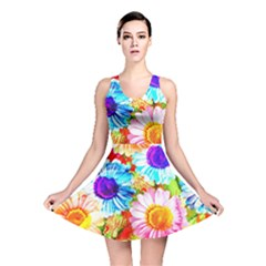 Colorful Daisy Garden Reversible Skater Dress by DanaeStudio