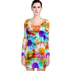 Colorful Daisy Garden Long Sleeve Bodycon Dress by DanaeStudio