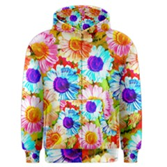 Colorful Daisy Garden Men s Zipper Hoodie by DanaeStudio