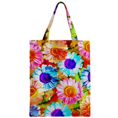 Colorful Daisy Garden Zipper Classic Tote Bag by DanaeStudio